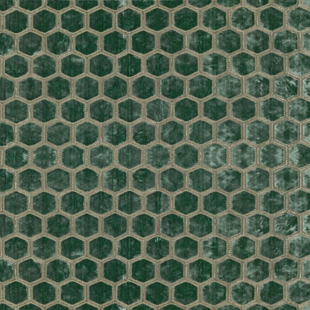 Meubelstof met fluwelen zeshoeken Manipur jade van Designers Guild