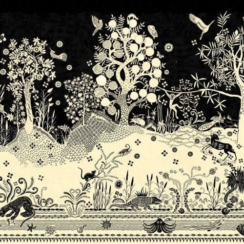 Een prachtig fantasiekrijk behang van Christian Lacroix, Bois Paradis Primevère