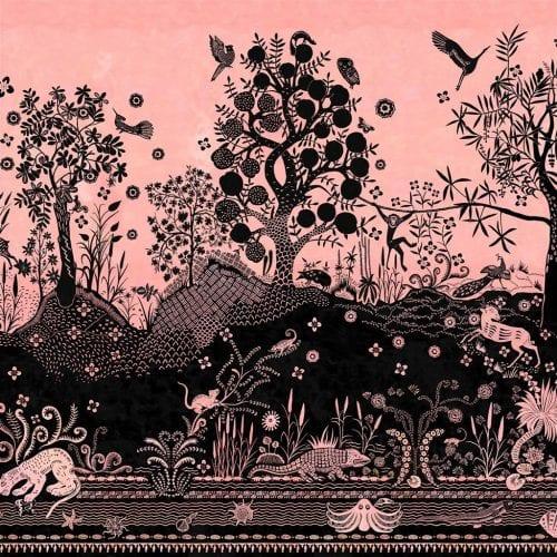 Een prachtig fantasiekrijk behang van Christian Lacroix, Bois Paradis Bourgeon