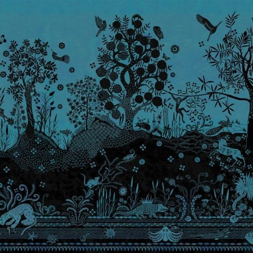 Een prachtig fantasierijk behang van Christian Lacroix, Bois Paradis Bleu Nigelle