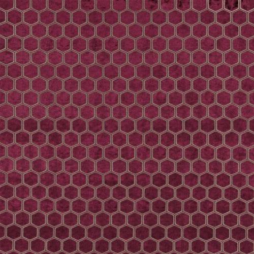 De prachtige fluwelen stof met honinggraad patroon, Manipur garnet