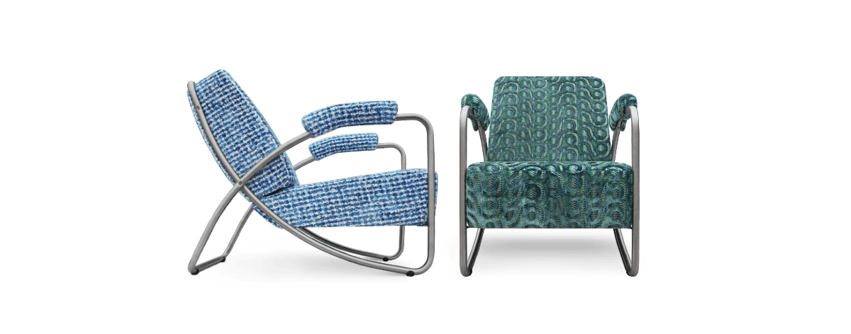 de chroombuisfauteuil Dyker 20 in een prachtige combinatie stoffen van designers guild#chroombuis fauteuil#chroombuis stoel#designers guild#azure#kobalt blauw#indigo#dutch seating company#made in holland