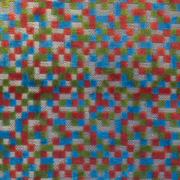 Drie-kleurige stof met vierkantjes, Mauro multi van Dutch Seating Company