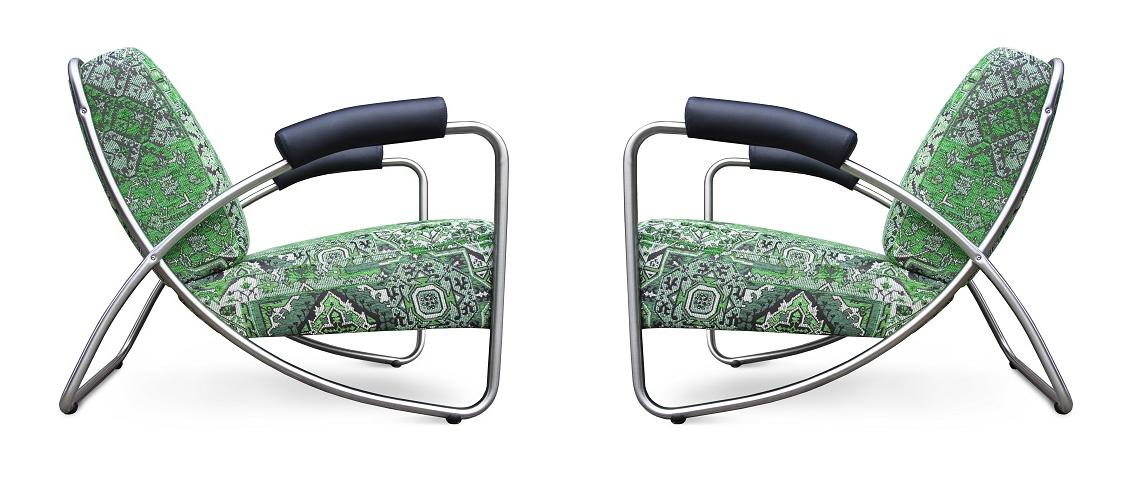 de dyker 20 chroombuis fauteuil in een verrassende combi van oosterse stoffen en stoer leer#oosterse stoffen#chroombuis fauteuil#verrassende combi#made in holland