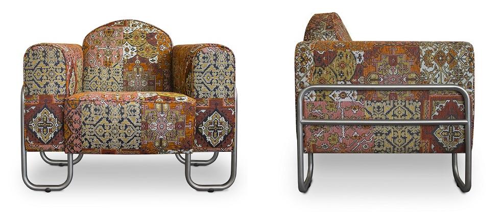 de stoere chroombuis fauteuil dyker 30 met een oosterse stof van warme terra kleuren#stoere stoel#stoer#chroombuis stoel#chroombuis fauteuil#terra kleur#oosters