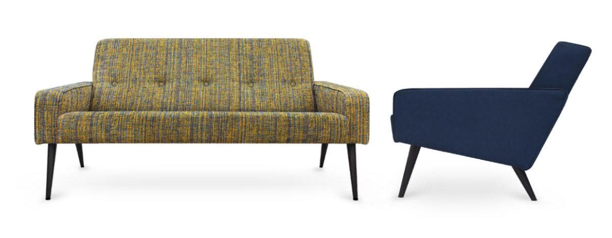 60-er jaren bank en fauteuil in een tweed stof#60-er jaren bank#60-er jaren stof#tweed#dutch seating company