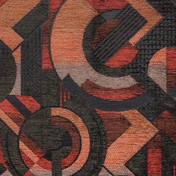 Art deco stof met warme kleuren rood en oranje, Milonga
