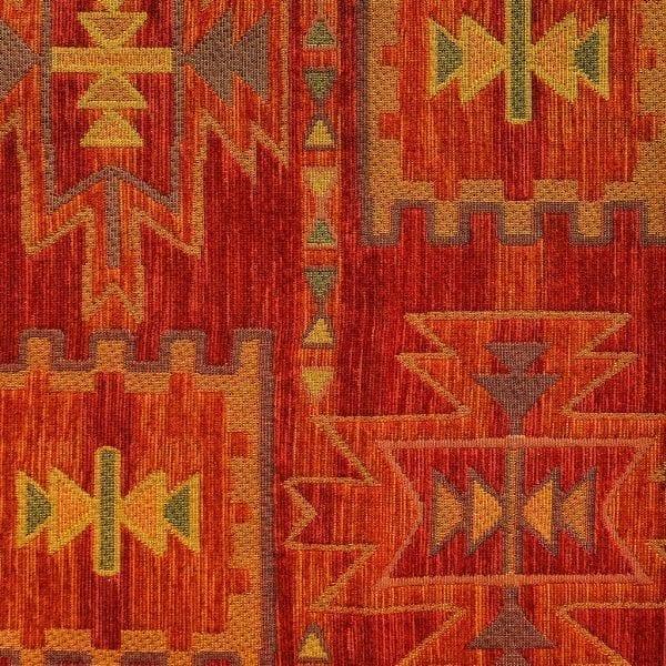 Deze kelim stof in warme terra en oranje tinten, Antorini