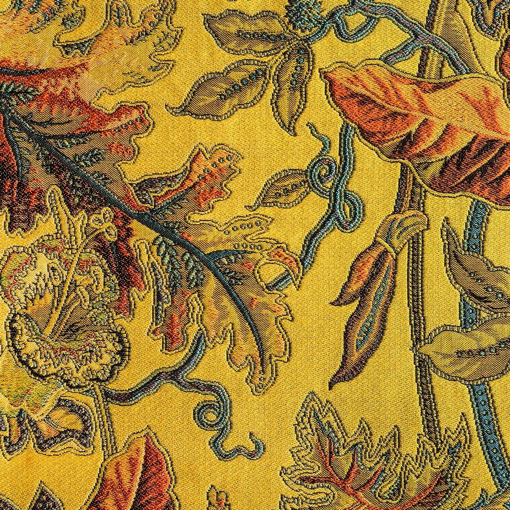 Bijzondere stof met bladeren in diverse kleuren, Ortega geel