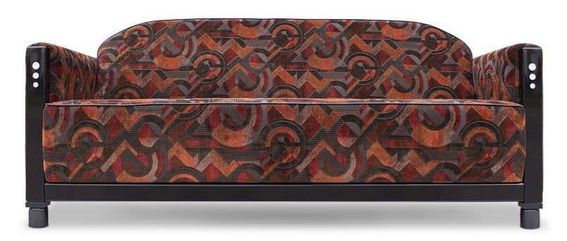 de roodbruine art deco stof combineert prachtig met deze art deco bank van dutch seating company#art deco bank#roodbruine bank#art deco stoffen#dutch seating company#made in holland