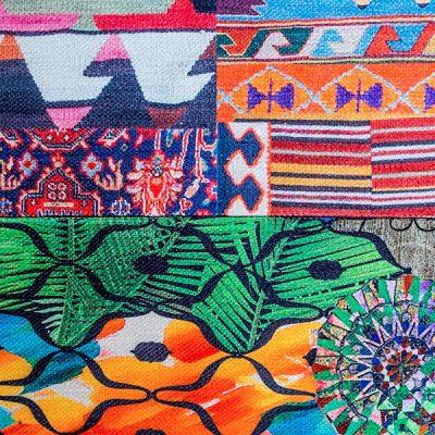 een kleurrijke kelim stof van vilber voor de oosterse casablanca bank#oosterse bank#kleurrijke bank#kelim stof#vilber#dutch seating company#made in holland