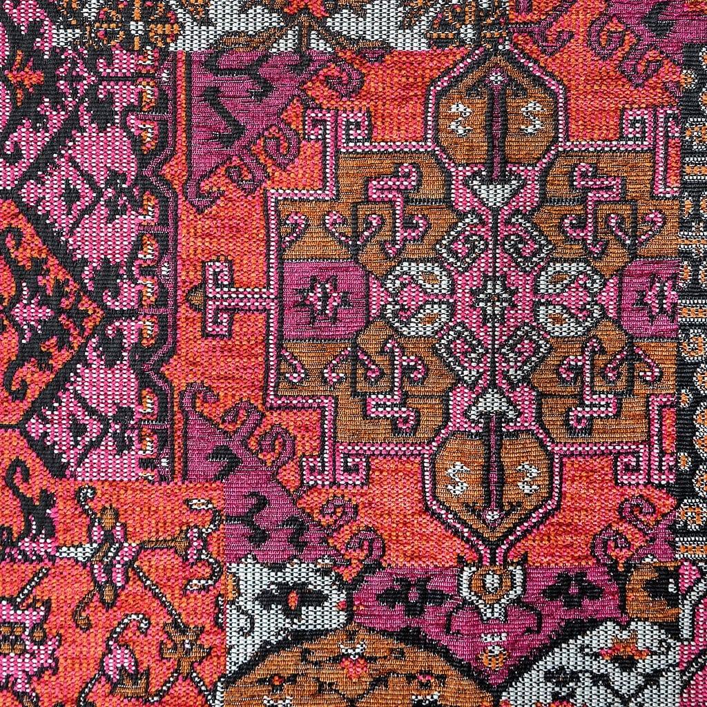 Oosterse, kleurrijke stof in een velle kleur roze, Setenta roze/rood