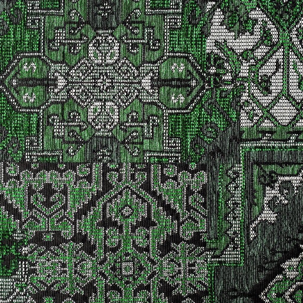 Oosterse, kleurrijke stof in een groene kleur, Setenta grijs