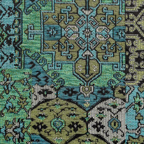Oosterse, kleurrijke stof in een petrol kleur blauw, Setenta groen/blauw