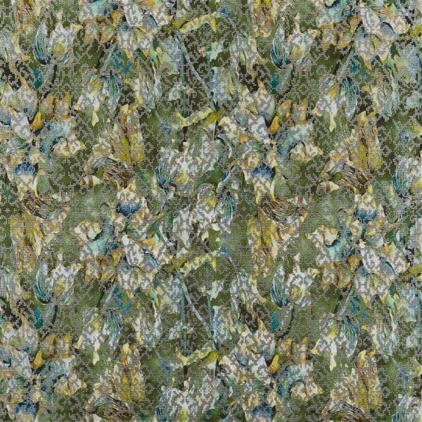 Groen metaal-achtige stof met een schilderachtige dessin, Bardiglio