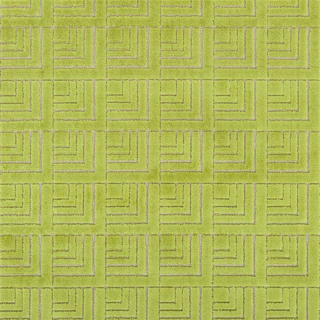 Geometrische lichtgroene stof, Frith apple van Designers Guild