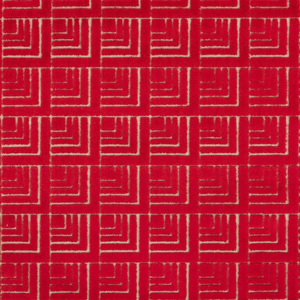 Geometrische rode stof, Frith pimento van Designers Guild