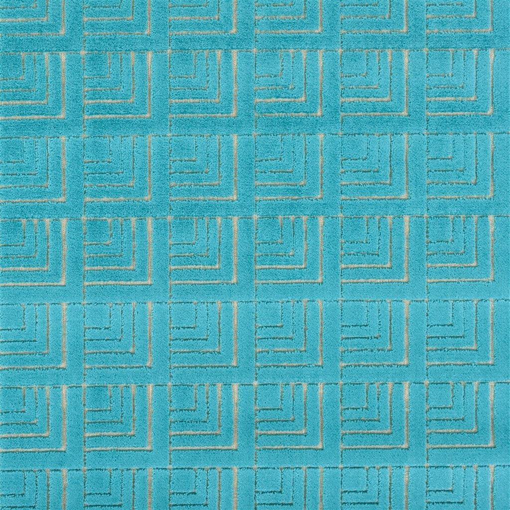 Geometrische lichtblauwe stof, Frith turquoise van Designers Guild