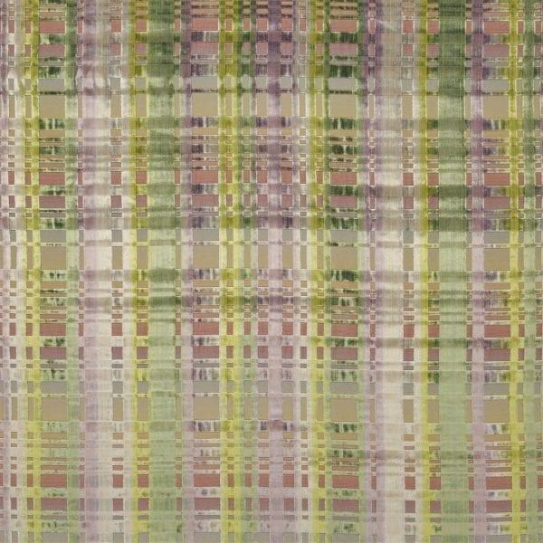 Geruite fluweel zachte stof Colonnade moss van Designers Guild