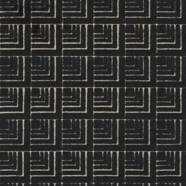 Geometrische zwarte stof, Frith noir van Designers Guild