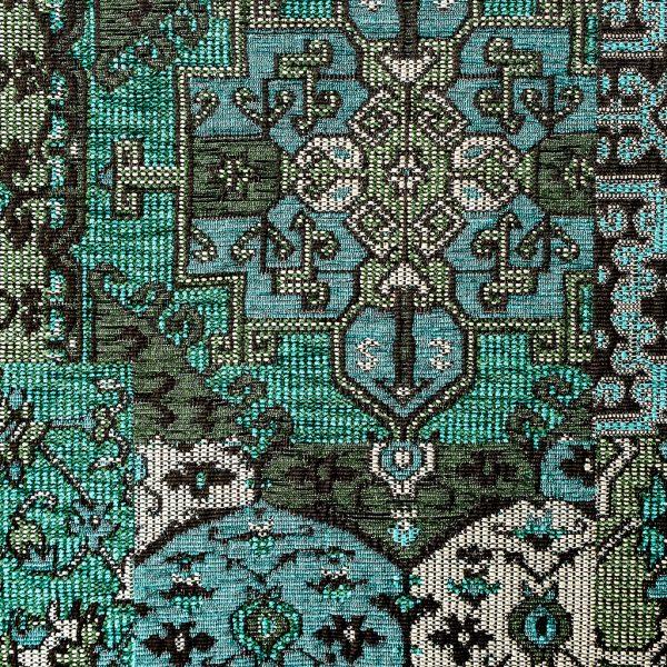 Oosterse, kleurrijke stof in een petrol kleur blauw, Setenta blauw