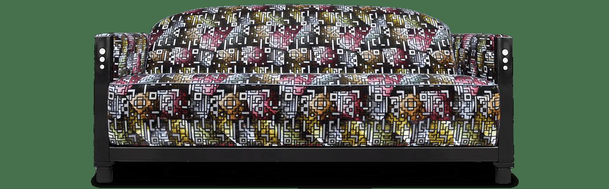 de art deco bank rooker met de stof casablanca berry van designers guild#art deco #art deco bank #rooker bank #designers guild #casablanca berry