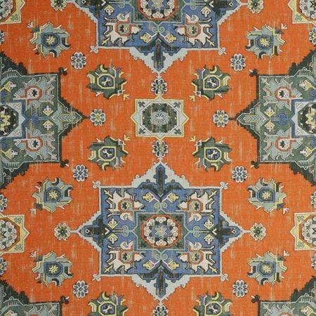 Kleurrijke op turkse tapijten lijkende stof Malatya flamingo van Clarke and Clarke