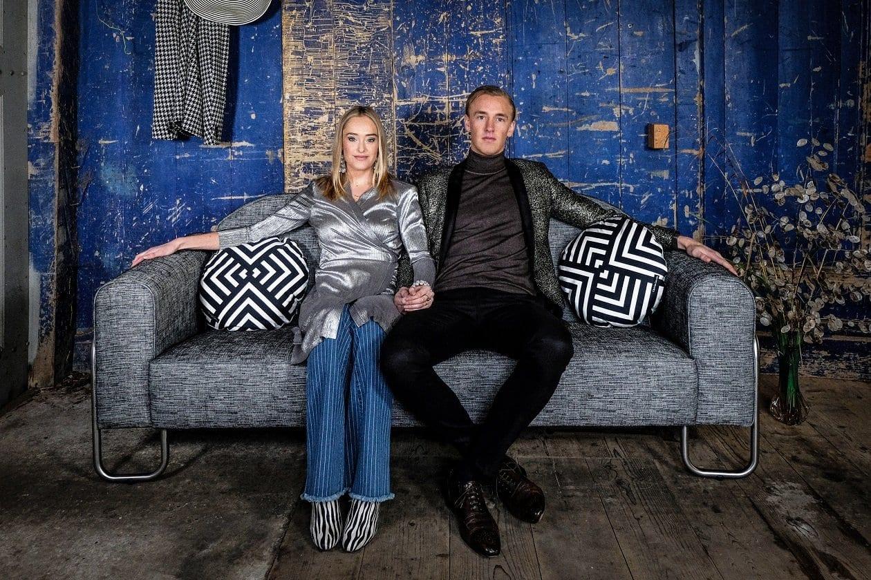 de dyker 30 chroombuis bank van dutch seating company met een easy clean stof#easy clean #designers guild #dyker bank #designers guild #dutch seating company
