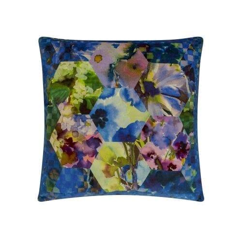 Exotisch beeld van bloemen en prints kussen Kashmiri cobalt