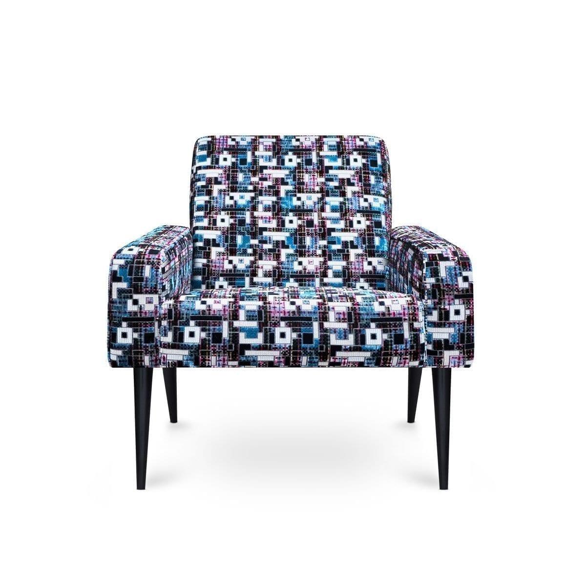 Dyker 60 fauteuil in vrolijke stof Marquina delft van Designers Guild