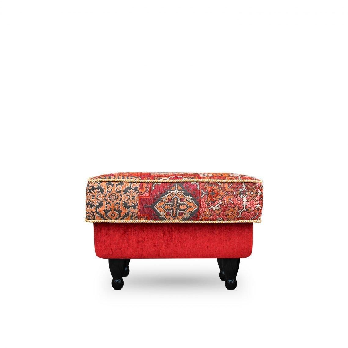 De Oosterse pouf Casablanca Setenta in de rode stoffen Setenta en Leo new