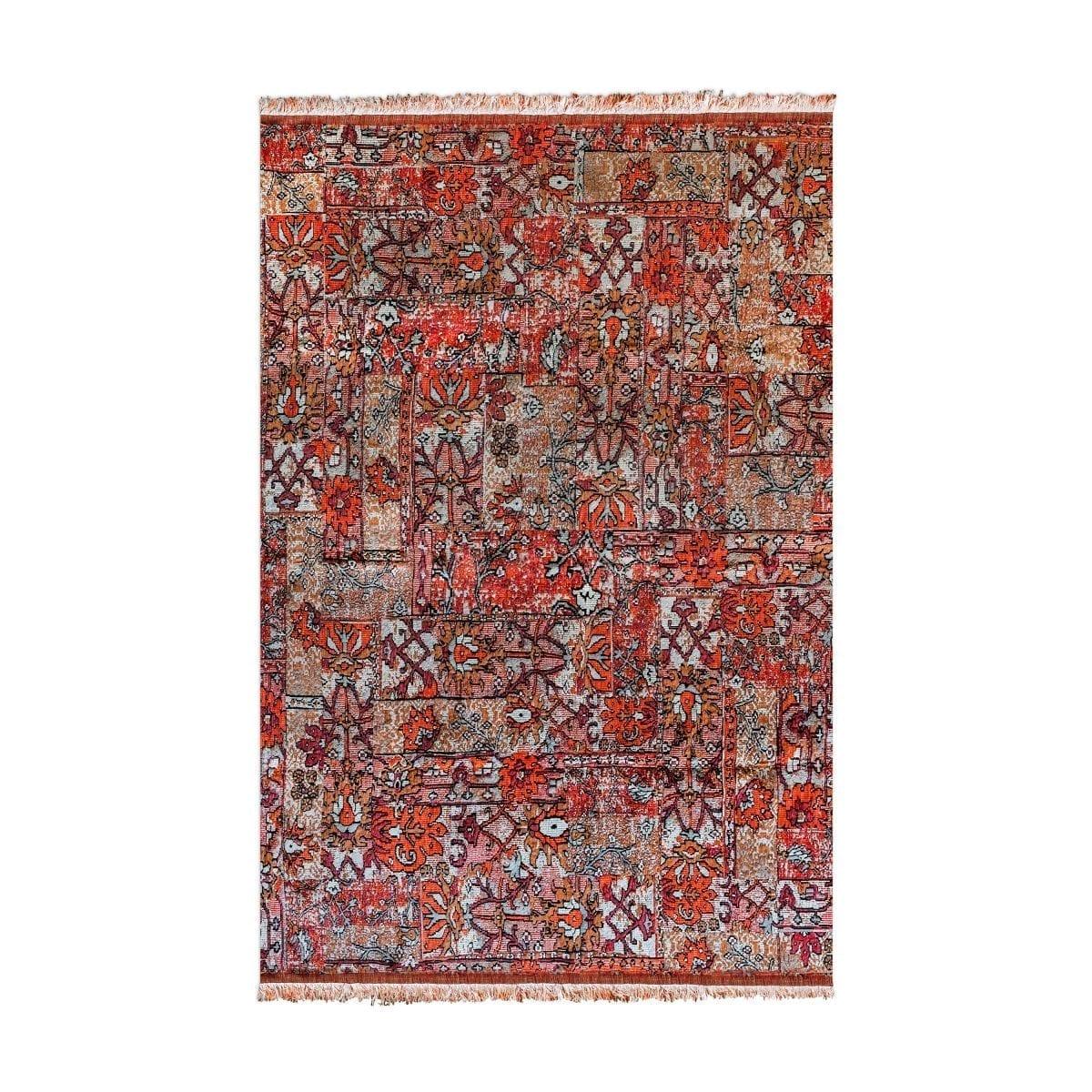 Oosters, kleurrijk vloerkleed Casablanca setenta rood
