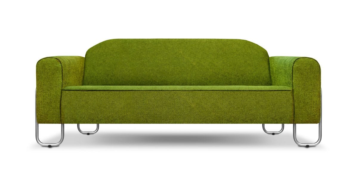 De bauhausen-stijl bank Dyker 30 in de stof Birkett apple van Designers Guild