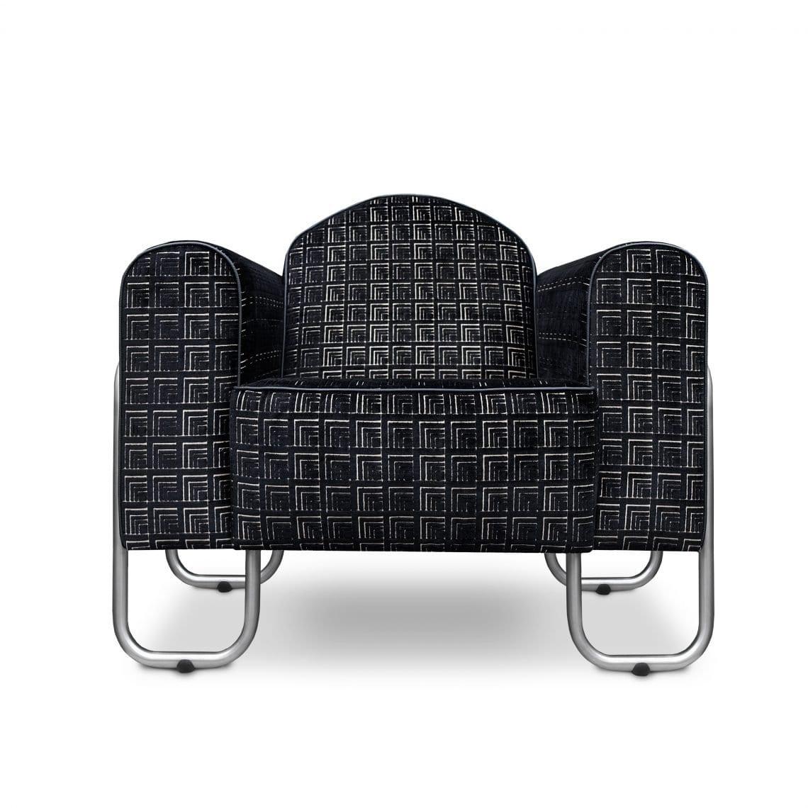 Comfortabele fauteuil Dyker 30 in de stof Frith noir van Designers Guild