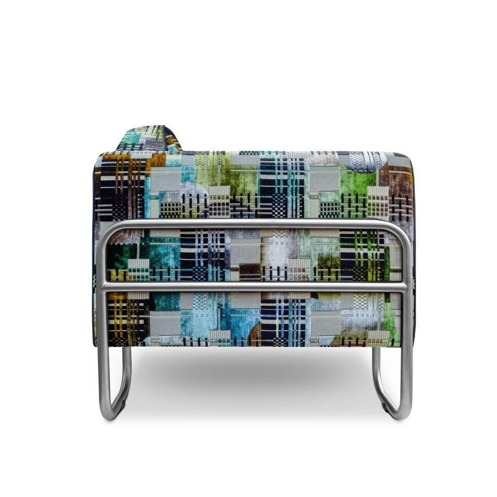 Dyker 30 fauteuil met de geometrische stof Chandigarh aqua