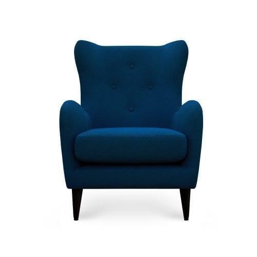De Moorfauteuil in de effen blauwe stof Shetland denim