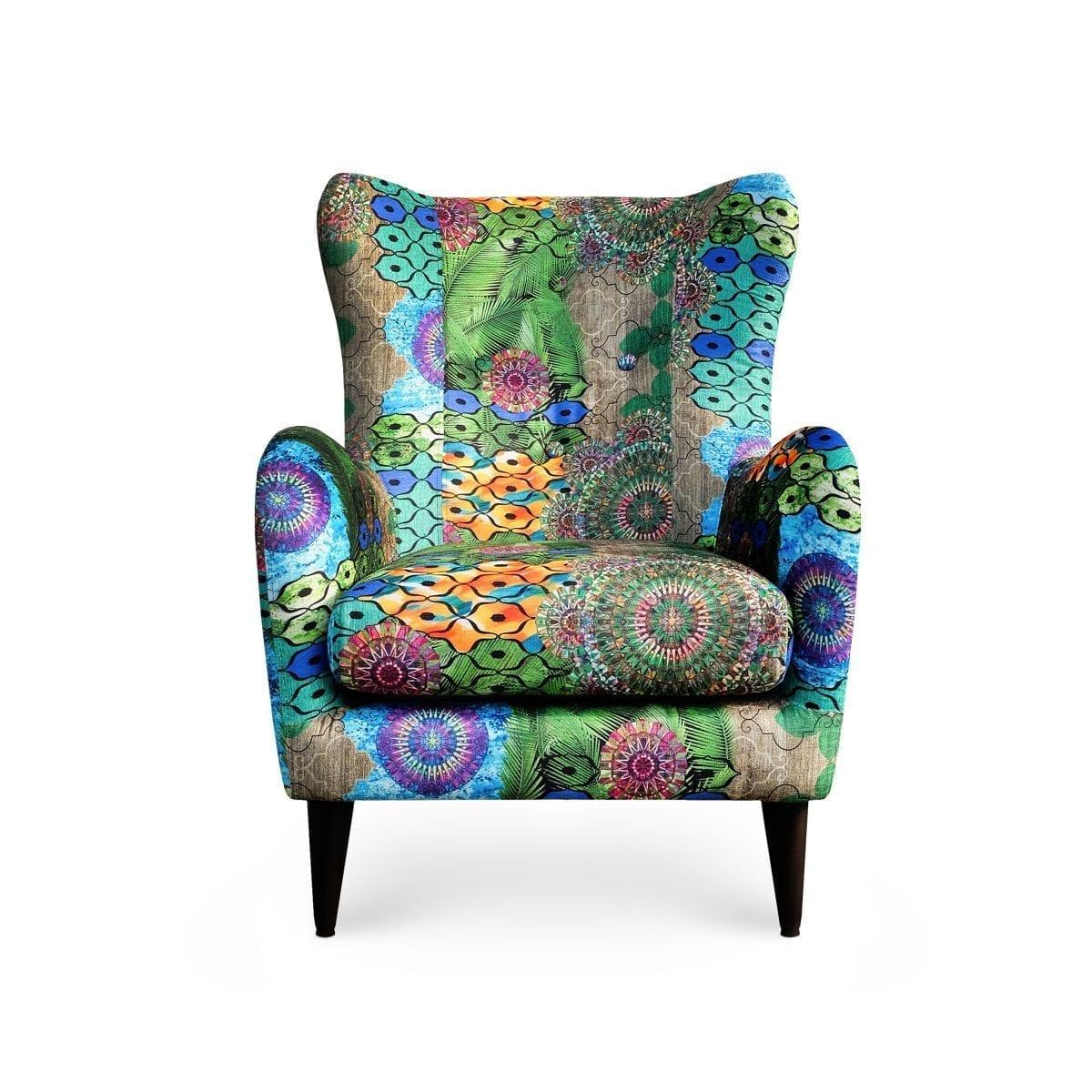 De Moorfauteuil in de bijzonder kleurrijke stof Jungle van Dutch Seating Company