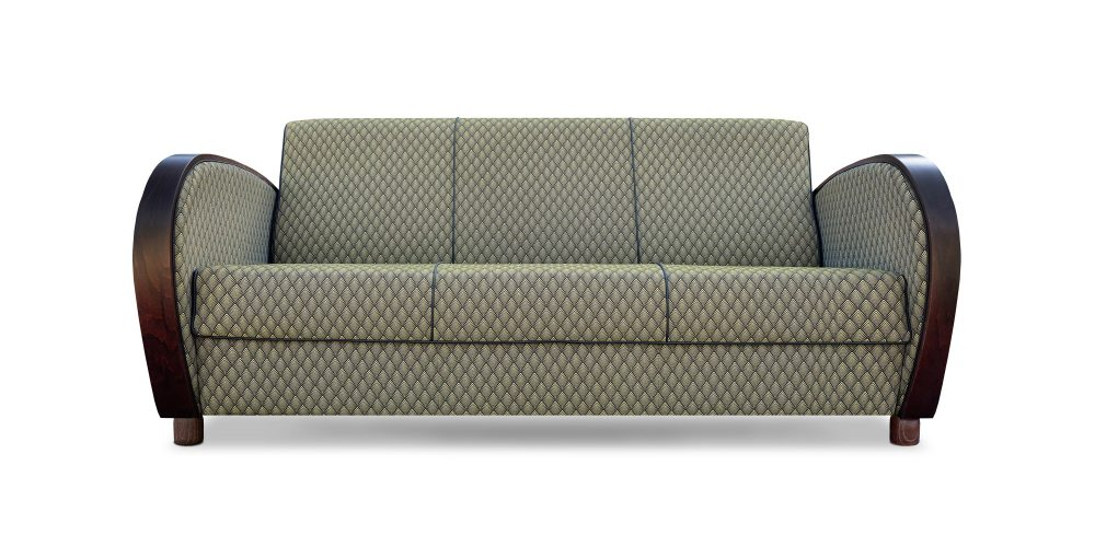 De art deco Rooker 02 bank met de stof Haute deco van Dutch Seating Company