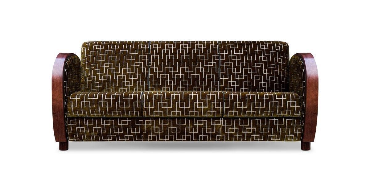 De art deco Rooker 02 bank in de geometrische stof Jeanneret moss