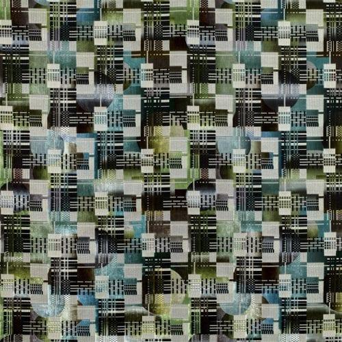 Grafische gelaagde meubelstof Chandigarh aqua van Designers Guild