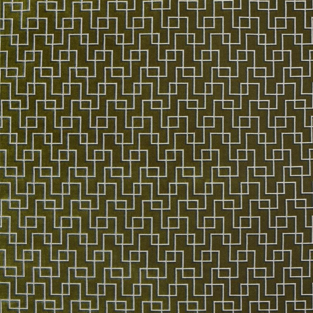 Geometrische, duurzame meubelstof Jeanneret moss van Designers Guild
