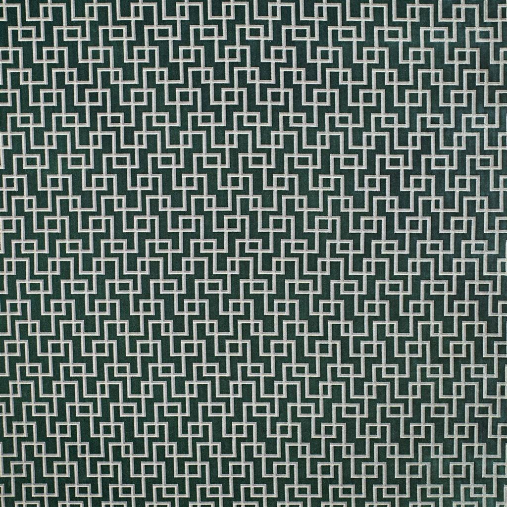 Geometrische, duurzame meubelstof Jeanneret ocean van Designers Guild