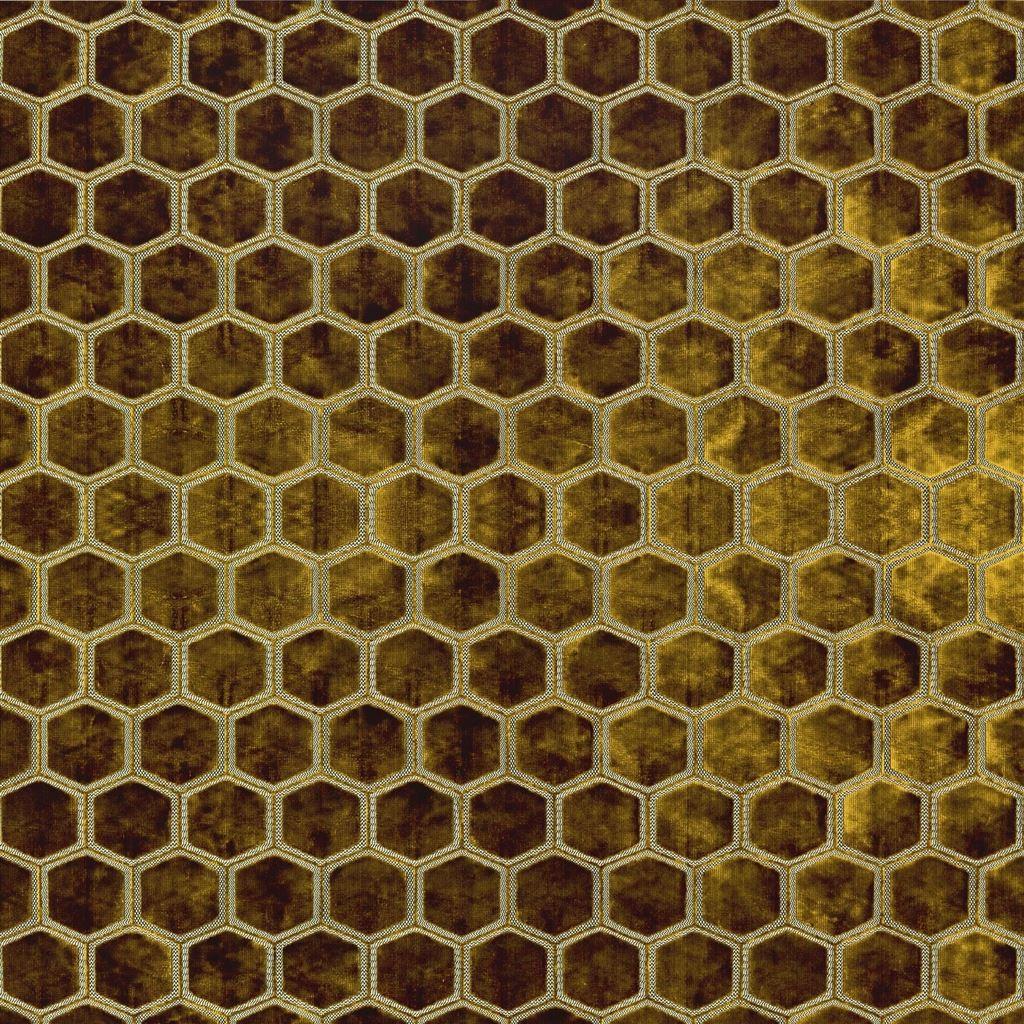 Meubelstof met fluwelen zeshoeken Manipur ochre van Designers Guild