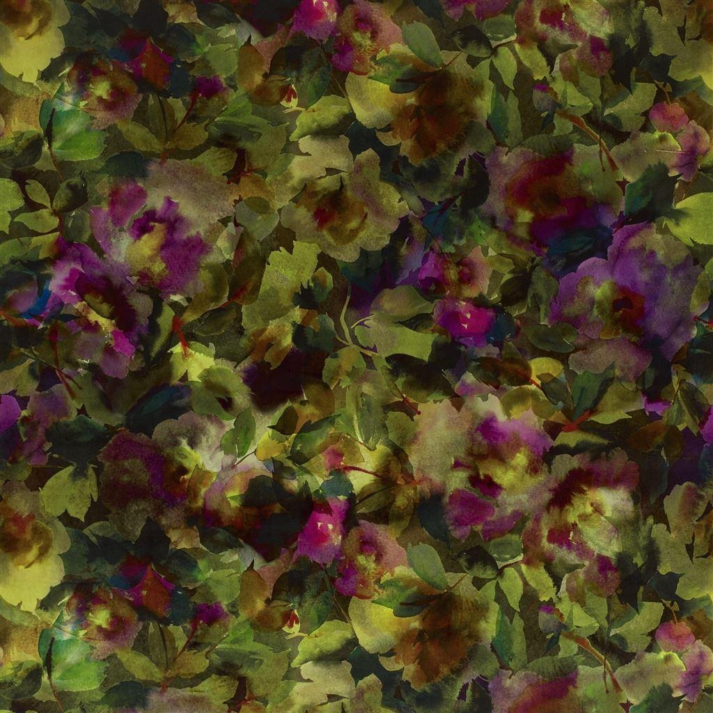 Reproductie van bloemen op stof Surimono berry van Designers Guild