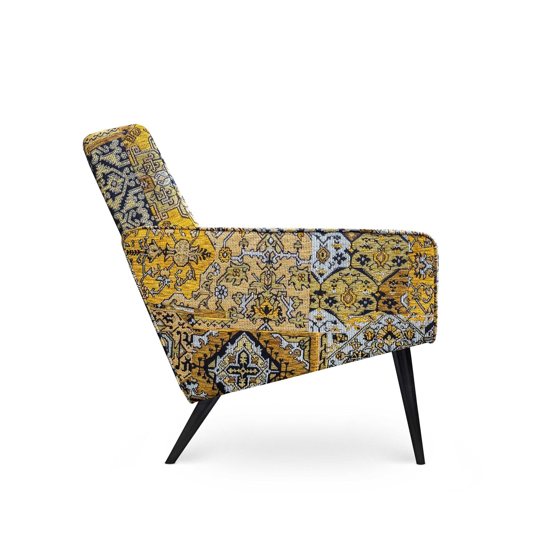 Scandinavische fauteuil Dyker 60 in de stof Setenta geel