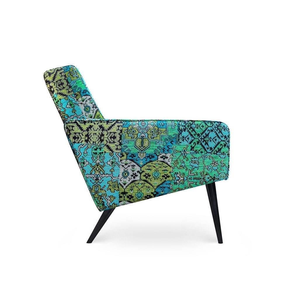 Scandinavische fauteuil Dyker 60 in de stof Setenta blauw