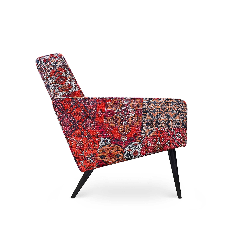 Scandinavische fauteuil Dyker 60 in de stof Setenta rood