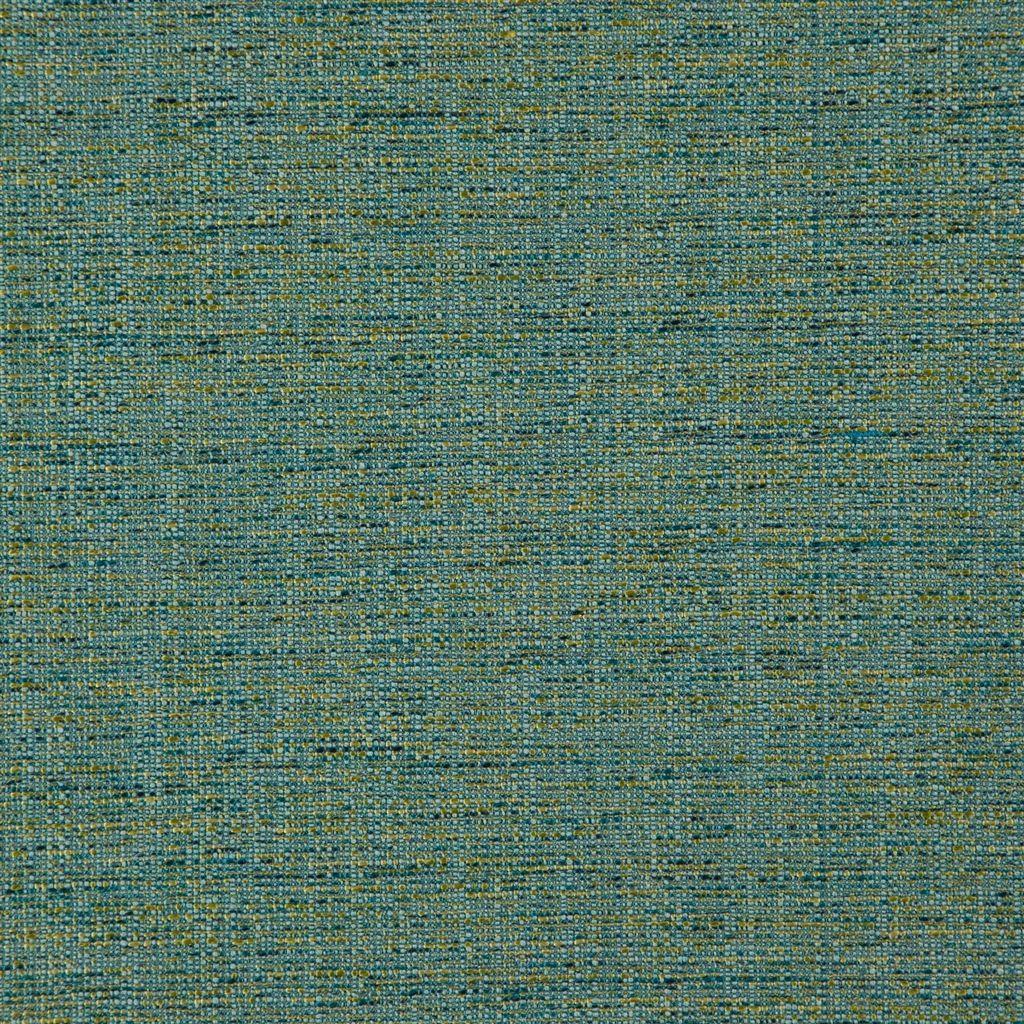Elegante structuurstof met groen/blauwe garens, Grasmere turquoise van Designers Guild
