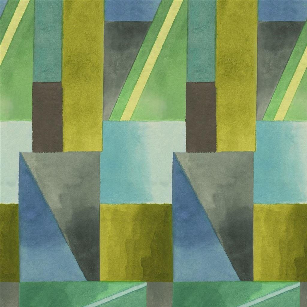 Een opvallend grafisch patroon met impactvolle kleuren op een behang, Alphonse van Designers Guild