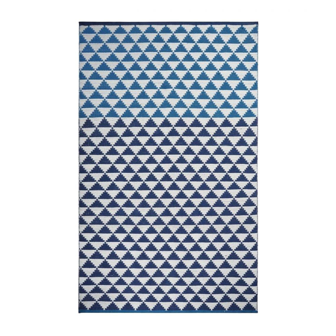 Een stijlvol en handig vloerkleed van Designers Guild met driehoeken, Biscayne cobalt rug